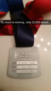 2015 Chicago Marathon Medal Engraved
